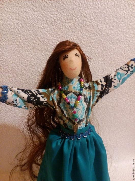 Коллекционные куклы ручной работы. Ярмарка Мастеров - ручная работа. Купить Текстильная кукла. Handmade. Тёмно-бирюзовый, Кукольный трикотаж