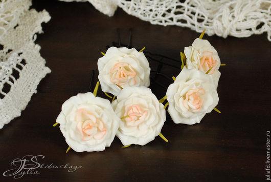 """Свадебные украшения ручной работы. Ярмарка Мастеров - ручная работа. Купить Шпильки для волос """"Неженка"""". Handmade. Белый, шпильки с розами"""
