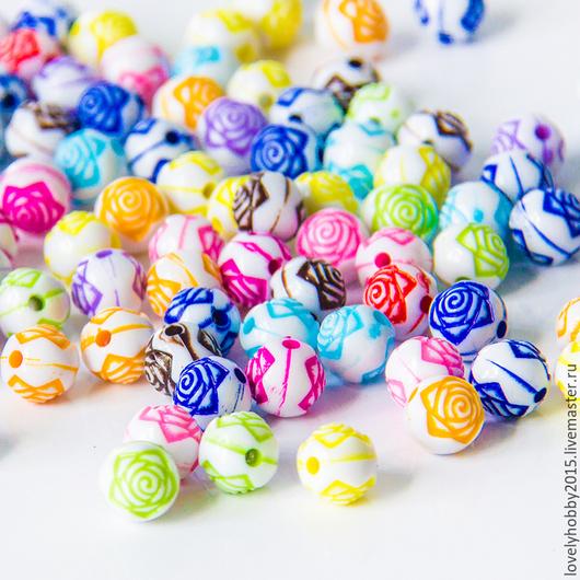 разноцветные пластиковые бусины ТУРЦИЯ