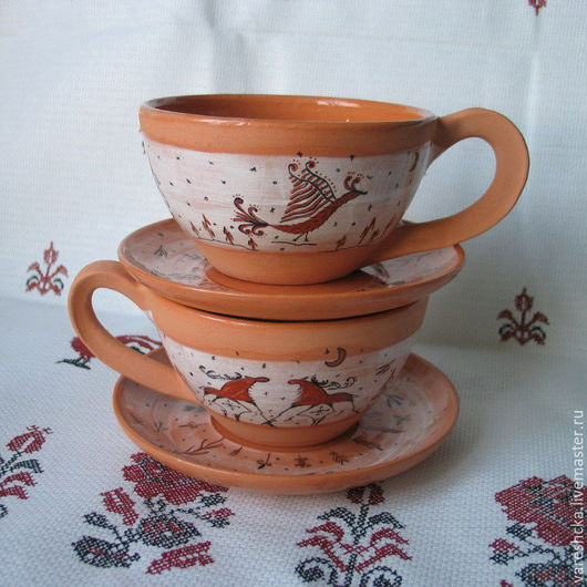 Кружки и чашки ручной работы. Ярмарка Мастеров - ручная работа. Купить Чашка с блюдцем Встреча. Handmade. Бежевый, чайная пара