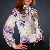 """Одежда ручной работы. Ярмарка Мастеров - ручная работа Шелковая блузка с бантом """"Розы"""". Handmade."""