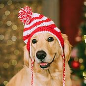 """Для домашних животных, ручной работы. Ярмарка Мастеров - ручная работа Шапка для собаки """"Новогодняя"""". Handmade."""