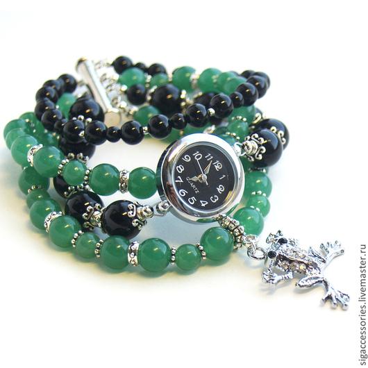 """Часы ручной работы. Ярмарка Мастеров - ручная работа. Купить """"Стань Царевной"""" - часы-талисман. Handmade. Зеленый, браслет с лягушкой"""