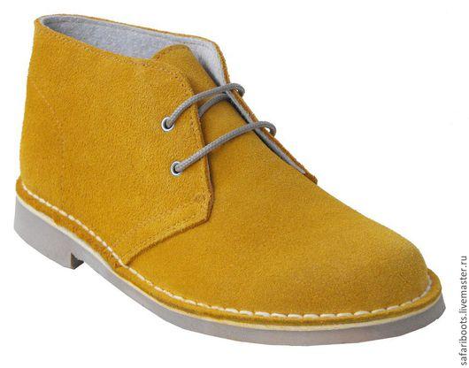 Обувь ручной работы. Ярмарка Мастеров - ручная работа. Купить Замшевые ботинки. Handmade. Желтый, женская обувь, замша натуральная