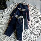 Одежда для кукол ручной работы. Ярмарка Мастеров - ручная работа Джинсовые брючки с лампасами для текстильных кукол. Handmade.