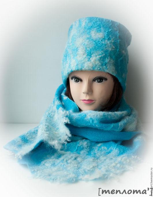 Шарфы и шарфики ручной работы. Комплект валяный, шапка и шарф
