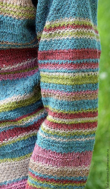 Кофты и свитера ручной работы. Ярмарка Мастеров - ручная работа. Купить Вязаный кардиган Твид спицами из шерсти. Handmade. В полоску