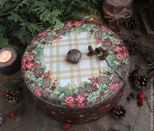 """Корзины, коробы ручной работы. Ярмарка Мастеров - ручная работа. Купить """"Шишечки""""  Короб. Handmade. Коричневый, подарок на новый год, орех"""