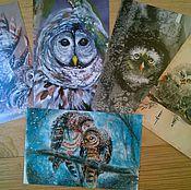 """Открытки ручной работы. Ярмарка Мастеров - ручная работа набор  почтовых открыток """"Совы """". Handmade."""