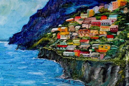 Город ручной работы. Ярмарка Мастеров - ручная работа. Купить картина маслом Позитано. Handmade. Море, пейзаж маслом, италия