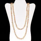 Работы для детей, handmade. Livemaster - original item Long beads made of natural pink pearls. Handmade.