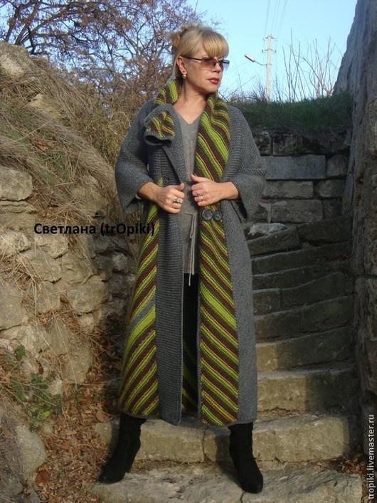 Пиджаки, жакеты ручной работы. Авторское пальто вязаное