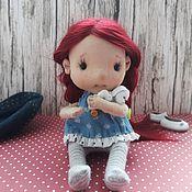 Куклы и пупсы ручной работы. Ярмарка Мастеров - ручная работа Текстильная подвижная кукла девочка с рыжими волосами в голубом платье. Handmade.