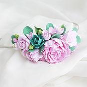 Украшения ручной работы. Ярмарка Мастеров - ручная работа Ободок с цветами из полимерной глины. Handmade.
