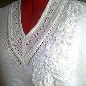 Одежда ручной работы. Ярмарка Мастеров - ручная работа Белый жилет с вышивкой. Handmade.