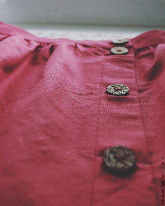 Юбки ручной работы. Ярмарка Мастеров - ручная работа. Купить Юбка на пуговицах с карманами. Handmade. Бордовый, юбка на пуговицах