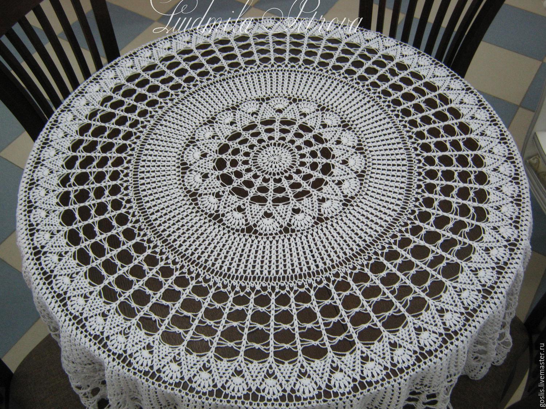 Вязание крючком для начинающих скатерть круглая 91