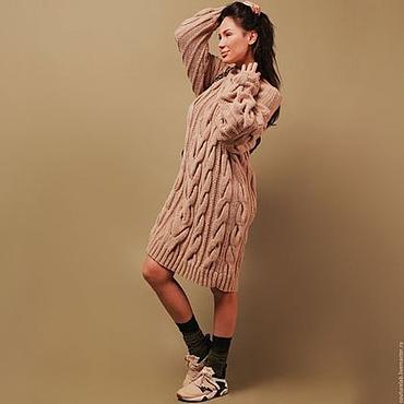 Одежда ручной работы. Ярмарка Мастеров - ручная работа Платье свитер бежевое в косах. Handmade.