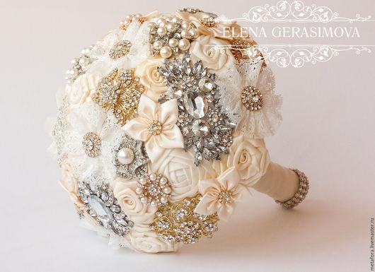 Свадебные цветы ручной работы. Ярмарка Мастеров - ручная работа. Купить Брошь букет невесты АЙВОРИ. Handmade. Букет невесты