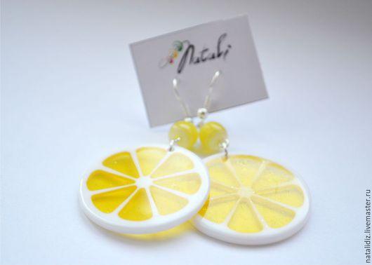 """Серьги ручной работы. Ярмарка Мастеров - ручная работа. Купить Серьги """"Лимон"""". Handmade. Желтый, яркие серьги, летние серьги"""
