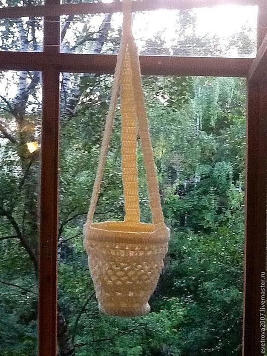 Кашпо ручной работы. Ярмарка Мастеров - ручная работа. Купить Вязаное кашпо. Handmade. Оригинальный подарок, кашпо, необычный подарок
