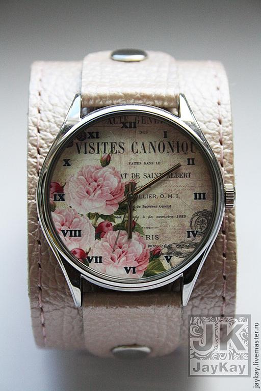 """Часы ручной работы. Ярмарка Мастеров - ручная работа. Купить Часы наручные JK """"Розы на широком"""". Handmade. Наручные часы"""