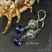 Украшения handmade. Livemaster - original item heart earrings with swarovski crystals