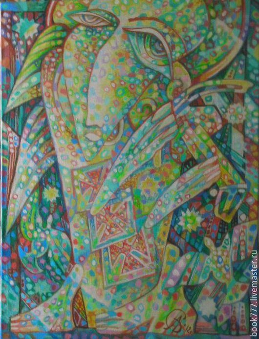 Символизм ручной работы. Ярмарка Мастеров - ручная работа. Купить Изумрудный Ангел. Handmade. Бирюзовый, картина маслом, изумрудно-зеленый