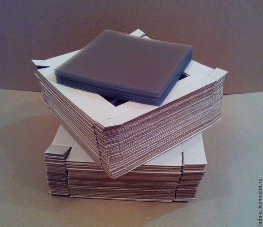 Упаковка ручной работы. Ярмарка Мастеров - ручная работа. Купить Заготовка коробочек 15х15х3 см с окном цвет крафт. Handmade.