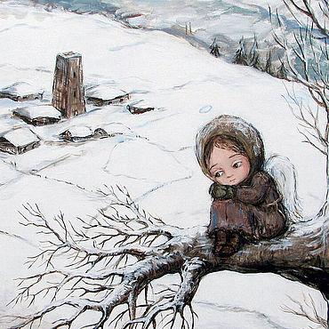 Картины и панно ручной работы. Ярмарка Мастеров - ручная работа Чакветадзе Нино. Ангел на ветке. Handmade.