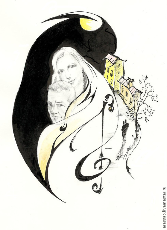 The final version of the illustration to the poem with characters with portrait similarity. Size illustration 11х9 cm.