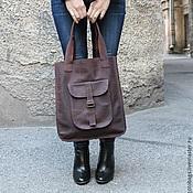 сумка ручной работы из натуральной кожи с большим карманом