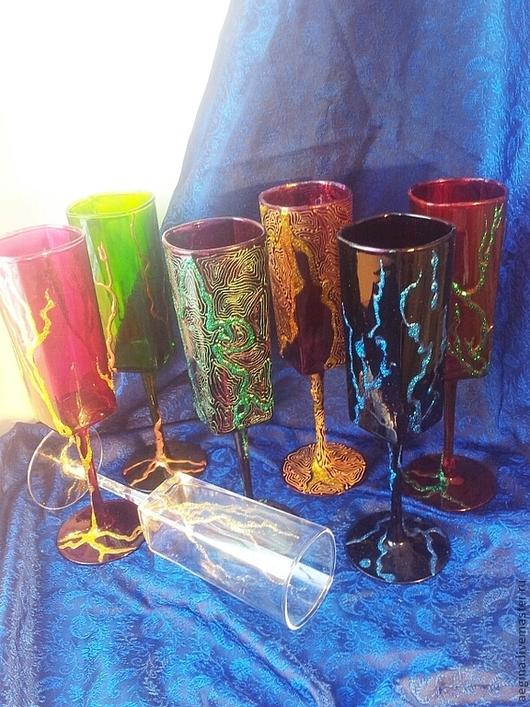 Бокалы, стаканы ручной работы. Ярмарка Мастеров - ручная работа. Купить роспись по стеклу ,бокалы. Handmade. Роспись по стеклу