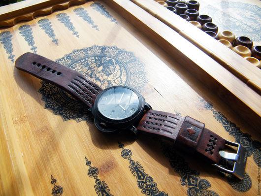 Часы ручной работы. Ярмарка Мастеров - ручная работа. Купить Ремешок для часов в Panerai стиле. Handmade. Коричневый