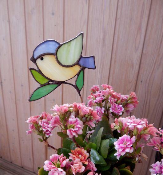 """Украшения для цветов ручной работы. Ярмарка Мастеров - ручная работа. Купить """"Птичка на веточке"""" декор для цветов. Handmade. Витраж, прозрачный"""