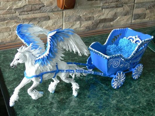 """Игрушки животные, ручной работы. Ярмарка Мастеров - ручная работа. Купить карета для куклы (с пегасом) """"Зима"""". Handmade. Карета"""
