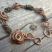 Bead bracelet handmade. Livemaster - original item Bracelet Rose Wire Copper Wire Wrap Boho Brown. Handmade.