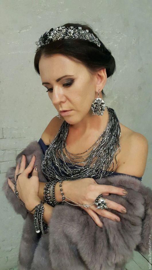 Роскошный эксклюзивный образ авторские украшения из натуральных камней нарядное стильное колье ожерелье браслет слейв и серьги ручной работы дизайнера Светланы Молодых купить в Москве бижутерия
