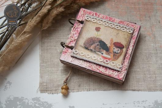 """Блокноты ручной работы. Ярмарка Мастеров - ручная работа. Купить Блокнот """"Ежата в Париже"""". Handmade. Розовый, блокнот с животными"""
