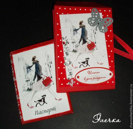 к обложке можно заказать подарочный холдер. Холдер выполняется в технике скрапбукинг из цветного дизайнерского картона, в форме коробочки или конверта, в той же тематике, что и обложки.