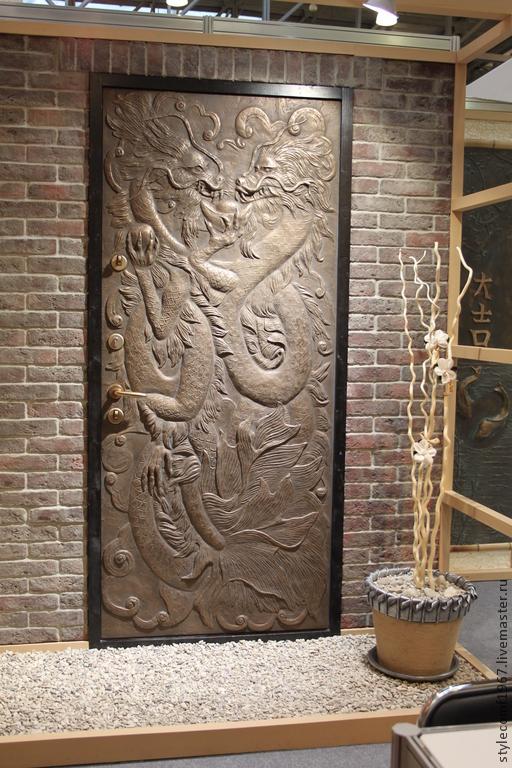 Элементы интерьера ручной работы. Ярмарка Мастеров - ручная работа. Купить панель входной металлической двери. Handmade. Барельеф
