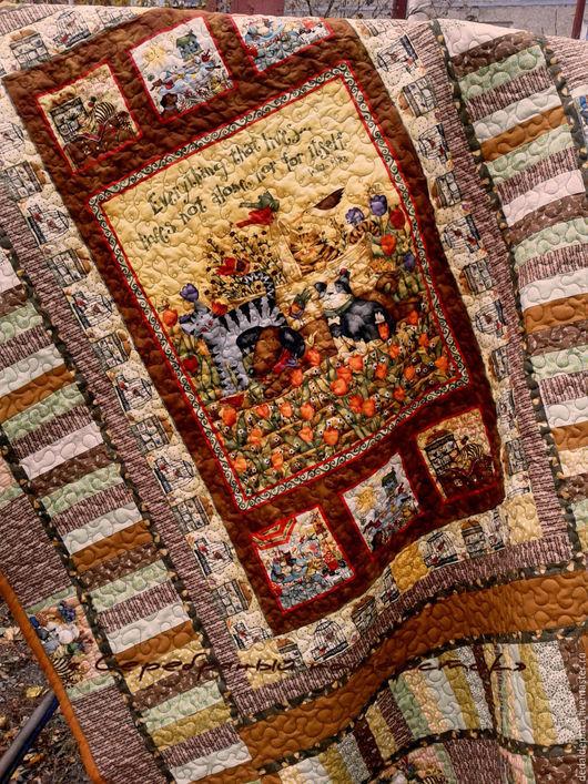 """Текстиль, ковры ручной работы. Ярмарка Мастеров - ручная работа. Купить Лоскутное покрывало """"Любимое"""""""". Handmade. Коричневый, подарок, пэчворк"""