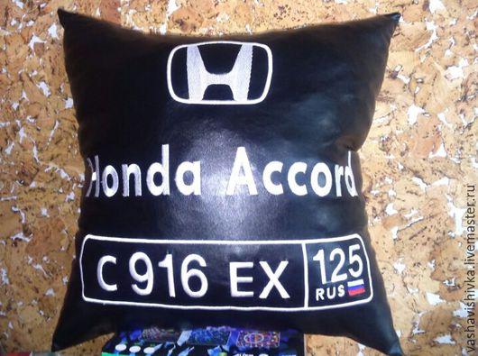 Автомобильные ручной работы. Ярмарка Мастеров - ручная работа. Купить Авто подушка с номером Honda. Handmade. Черный, автоподушка