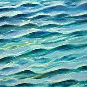 Картины и панно handmade. Livemaster - original item Abstract oil painting Sea turquoise sea waves on a Sunny day. Handmade.