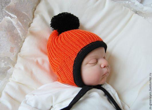 """Для новорожденных, ручной работы. Ярмарка Мастеров - ручная работа. Купить Шапка """"Оранжевый Смурфик"""")). Handmade. Рыжий, на выписку"""