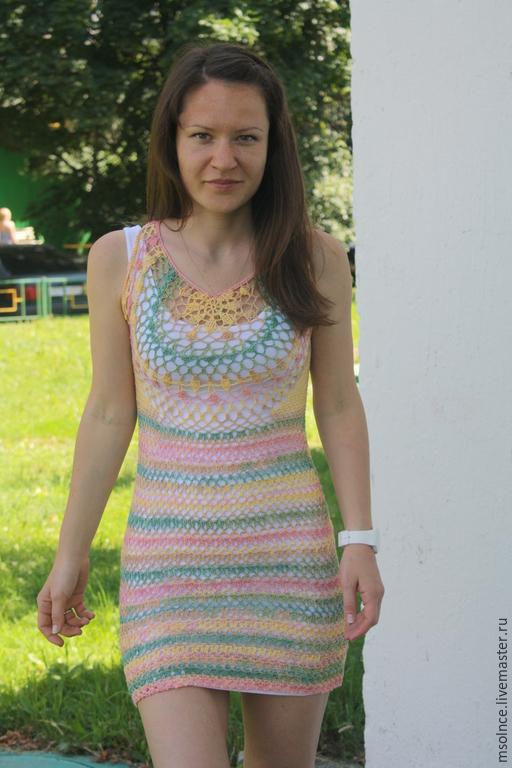 Пляжные платья ручной работы. Ярмарка Мастеров - ручная работа. Купить Вязаное крючком платье. Handmade. Разноцветный, пляжное платье