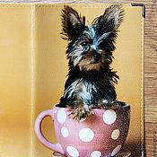 """Для домашних животных, ручной работы. Ярмарка Мастеров - ручная работа Вет.паспорт """"Чаепитие"""" (кожа). Handmade."""
