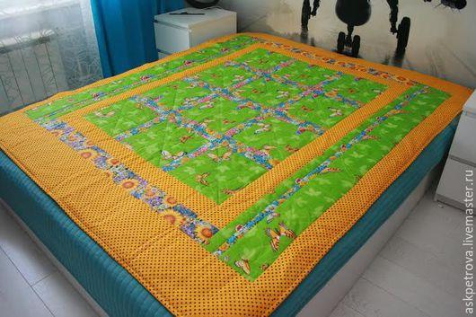 """Текстиль, ковры ручной работы. Ярмарка Мастеров - ручная работа. Купить Одеяло-покрывало пэчворк """"Бабочки на лугу"""". Handmade. бабочка"""