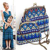"""Комплект сумочек для мамы и дочки """"Этно"""", сумки на фермуаре"""