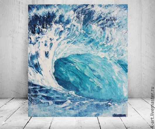 Пейзаж ручной работы. Ярмарка Мастеров - ручная работа. Купить Зефирная волна. Handmade. Синий, картина в подарок, морская пена